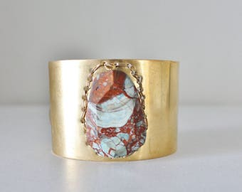 Mermaid seahorse stone brass cuff bracelet, blue brown stone, large gold adjustable cuff. One of a kind.