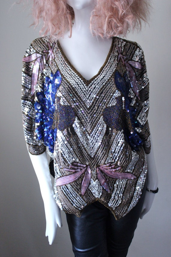 Sequin top, vintage, rare, peacock design, evening