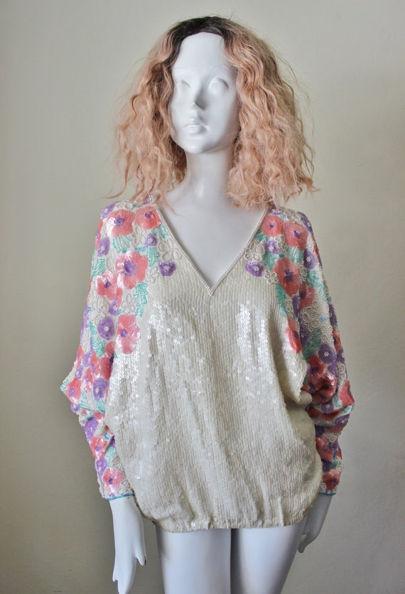 Sequin blouse, vintage, pearls, floral, beaded.