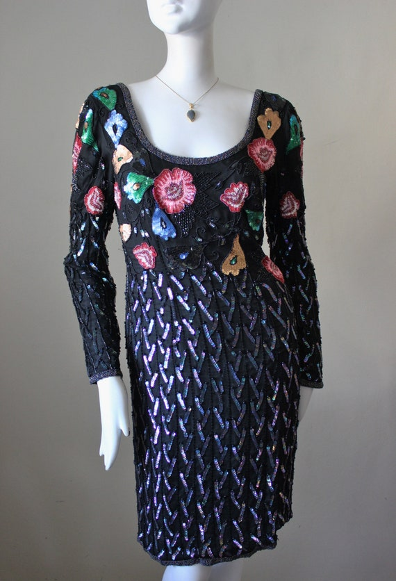 Sequin dress, bead, floral, sweaterdress, 1980s