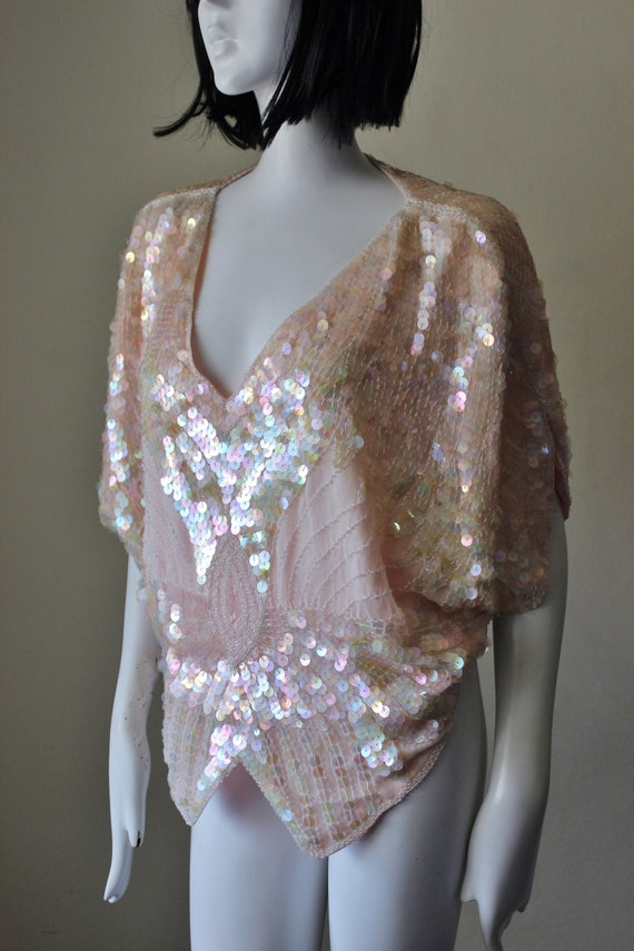 Sequin vintage top, silk, beaded, butterfly, disco