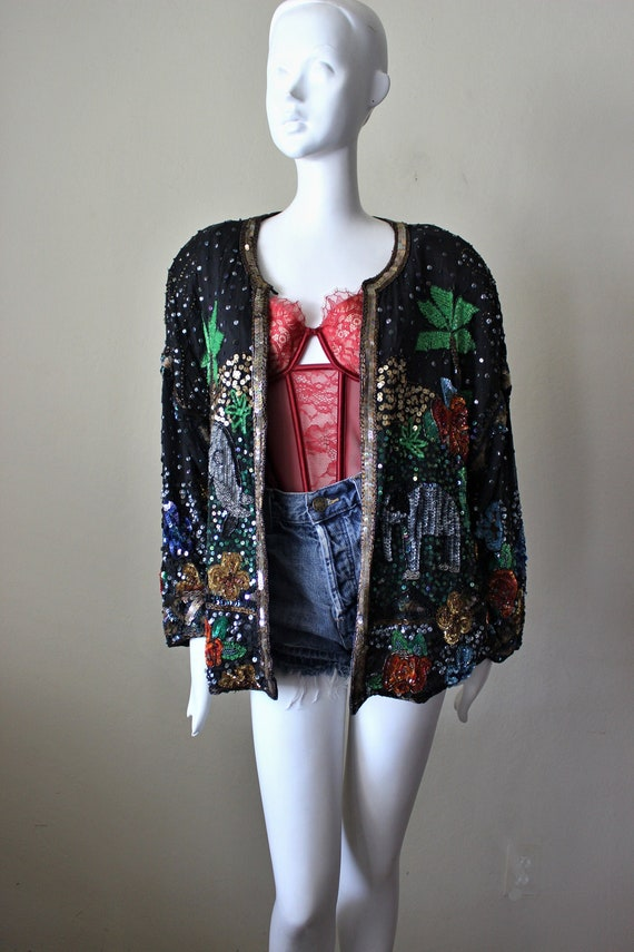 Sequin jacket, vintage, beaded, elephants, tropica