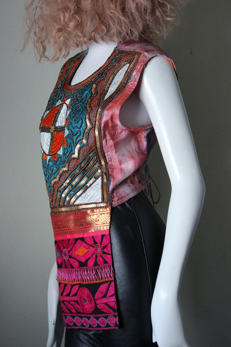 bohemian Tunic vintage mirrors OOAK. Indian top embroidered pink folk style