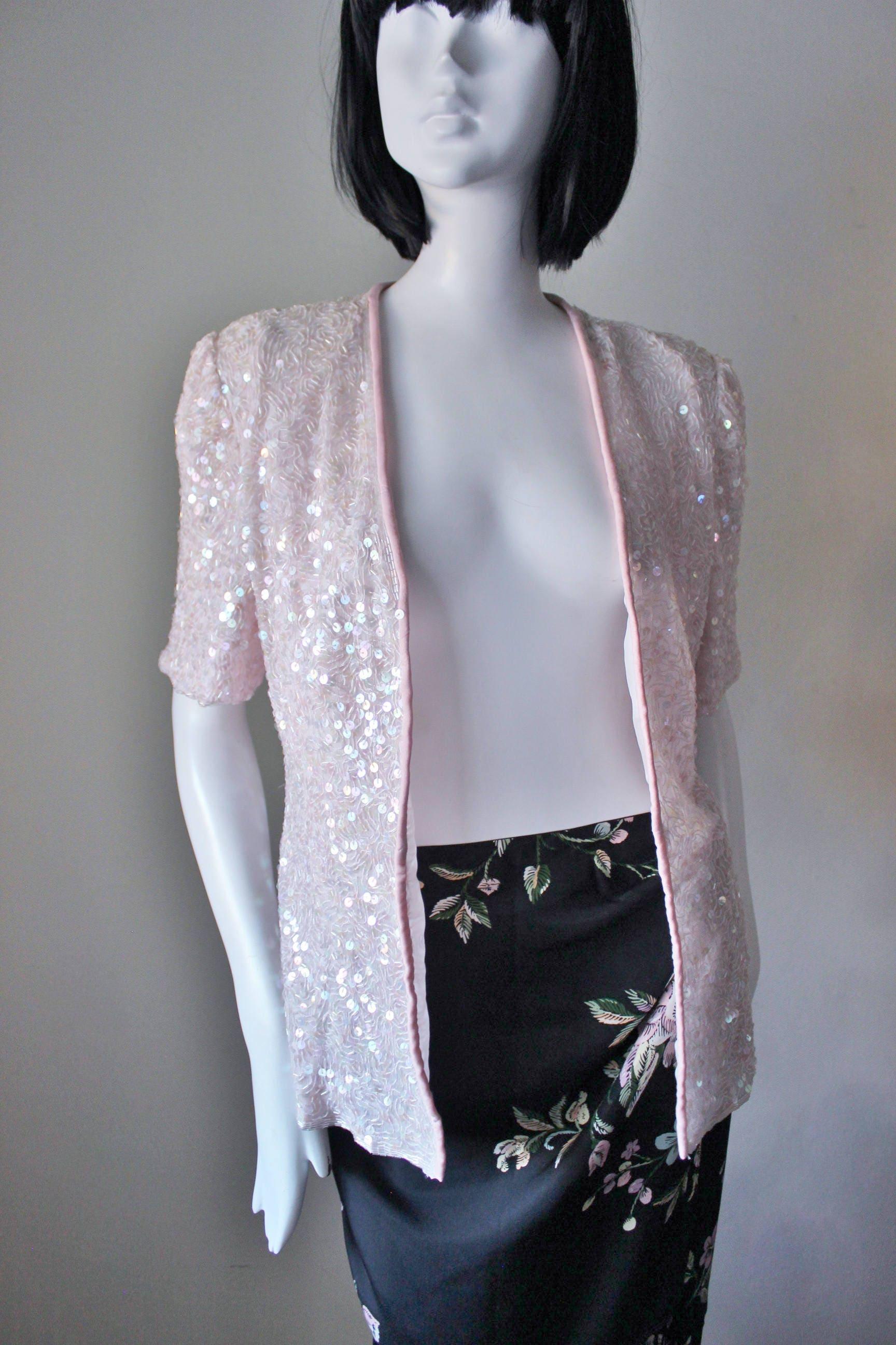 1c52547e Pink sequin 1980s jacket cardigan pastel spring sequin | Etsy