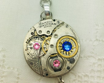 Vintage Waltham Steampunk Pocket Watch Necklace Sapphire and Rose Crystals OOAK Neo Victorian Necklace Steampunk Boho Artisan Jewelry