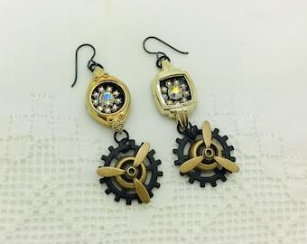 Steampunk Propeller Earrings Asymmetrical Vintage Watch Earrings Rhinestone Buttons Gears Neo Victorian Jewelry Birthday Aviator Earrings