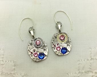 Steampunk Earrings, Ladies' Vintage Wristwatch Earrings, Lt Rose & Sapphire Swarovski crystals, OOAK, Birthday, Wedding Bridesmaid Jewelry