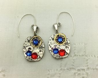 Steampunk Earrings, Ladies' Vintage Wristwatch Earrings, Lt Siam & Sapphire Swarovski crystals, OOAK, Birthday, Wedding Bridesmaid Jewelry