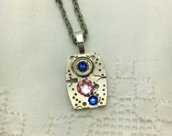 Vintage Steampunk Watch Necklace Sapphire & Lt Rose Crystals OOAK Neo Victorian Necklace Birthday Bridesmaid Gift Boho