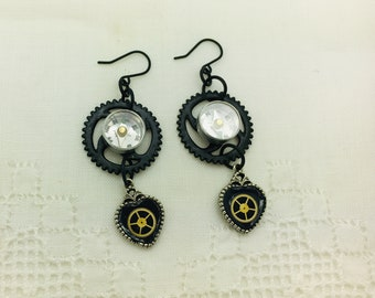 Steampunk Earrings Tiny Compasses Gears Neo Victorian Jewelry Birthday Boho Jewelry Artisan Jewelry