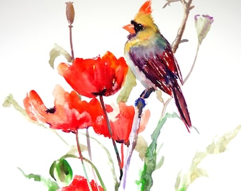 Female Cardinal and Poppies, bird and flowers red  Art, Bird Artwork, Original, watercolor painting, northern cardinal, large watercolor art