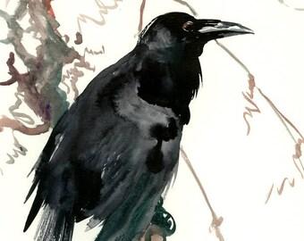 RAVEN, Original watercolor painting, Raven painting, original one of a kind watercolor artwork, Asian Ink Painting, Japanese INK