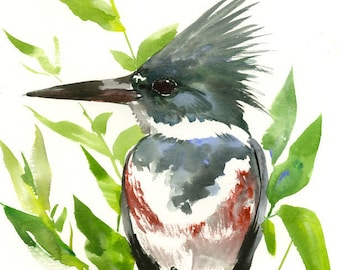 Belted Kingfisher, Original watercolor painting, kingfisher lover art, Asian style watercolor art, bird art, long large painting