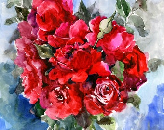 Dark red roses, Deep Red, Red wall art, Original watercolor painting, 11 x 14 in, deep red roses art, garden floral painting