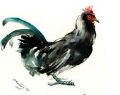 Black Rooster, Asian INK art, Zen Brush painting, feng shui rooster Chinese ink art
