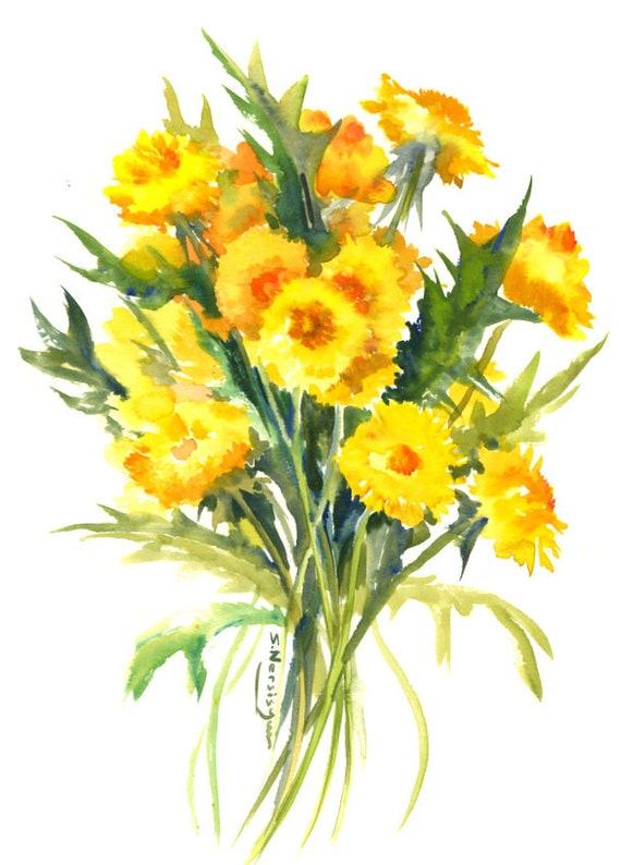 Dandelions original watercolor painting wild flowers herbs etsy image 0 mightylinksfo