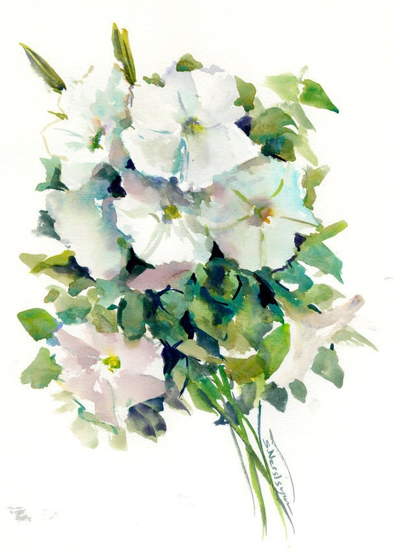 White Petunia Flowers Artwork Original Watercolor Painting Etsy