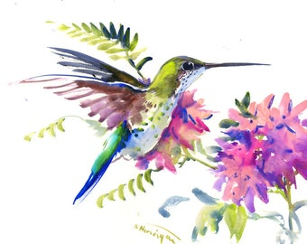 Flying Hummingbird and Tropical Foliage , Original watercolor painting,  wall art, painting, purple floral artwork,  bird lover gift