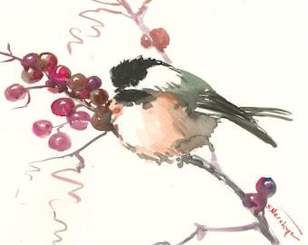 chickadee  artwork, bird art watercolor painting, bird art, bird painting, original, watercolor, chickadee