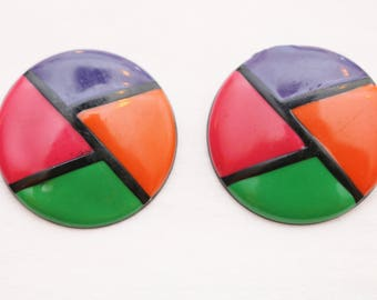 "80's Vintage ""SENSEI"" Large Round Abstract Patterned Fancy Colorful Earrings (Pierced)"