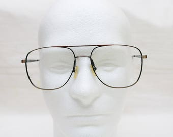 "Rare 80's Vintage ""PROFILE"" Brown Marble Metal Eyeglass Frames"