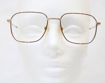 "Rare 80's Vintage ""ARISTAR"" Large GOLD Designer Eyeglass Frames With Tortoise Detail"