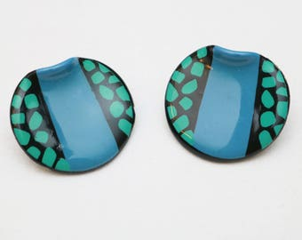 "80's Vintage ""PATTIE"" Patterned Colorful Fancy Earrings (PIERCED)"