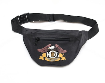 "Rare 90's Vintage ""HARLEY OWNERS GROUP"" Black Nylon 2-Pocket Fanny Pack"