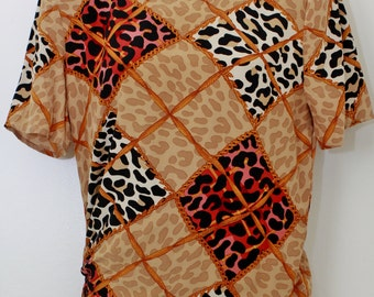 "80s Vintage Carlisle ""REMIX CHEETAH"" Short-Sleeve Silk Blouse Sz: 2 (EXCLUSIVE)"