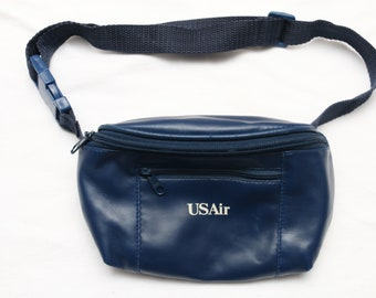 "Rare 90's Vintage ""US AIR"" Navy Blue Faux Leather Fanny Pack"