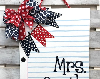 Classroom Door Hanger: Notebook Paper  - Last Name Sign - Initial Sign - Teacher Christmas Gift - Classroom sign - New Teacher Gift