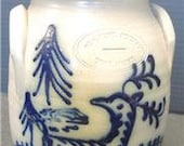 Vintage 1985 Beaumont Pottery Butter Churn - Stag In Forest Signed JB JW