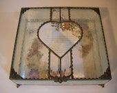 Stained Glass Wedding Invitation Keepsake Boxes with Beveled Glass Top