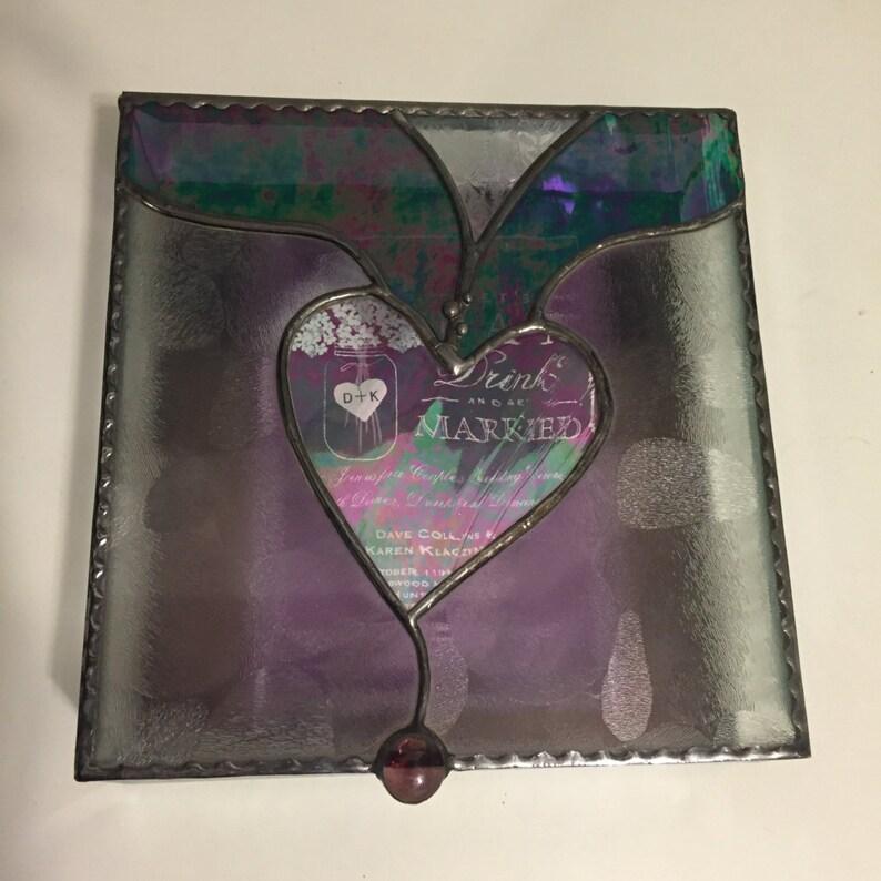 Stained Glass Wedding Invitation Keepsake Box With Beveled image 0