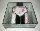 Stained Glass Wedding Invitation Keepsake Box with Beveled Glass Top