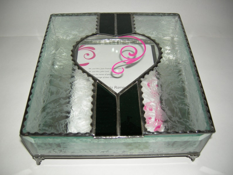 Stained Glass Wedding Invitation Keepsake Box with Beveled image 0