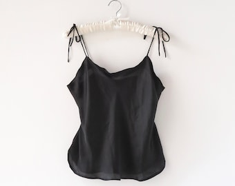 Marilyn silky satin camisole in Black    womens cami    Gifts for her    Pyjamas    handmade sustainable loungewear    Gemma Hill
