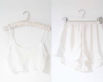 Marilyn sleepwear silky satin Set in Ivory    womens pjs    Bridesmaid PJs    Gifts for her    Pyjamas    Bridal PJS   