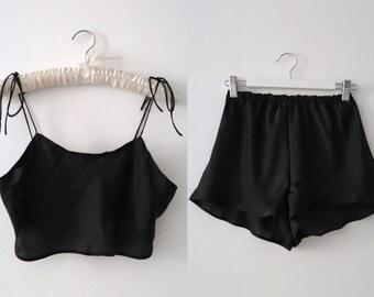 Marilyn sleepwear silky satin Set in Sheer Black    womens pjs    Bridesmaid PJs    Gifts for her    Pyjamas    Bridal PJS   