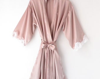 Marilyn silky satin lace robe in Candy Floss    Bridesmaid Robes     Bride Robe    Bridal Party Robes    Bridesmaid Gifts