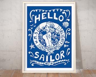 Sailor Art Print, Wall Art, Hello Sailor, Blue and White Print, Signed Print, Nautical Print, Tattoo Art, Hello Sailor by Port and Lemon