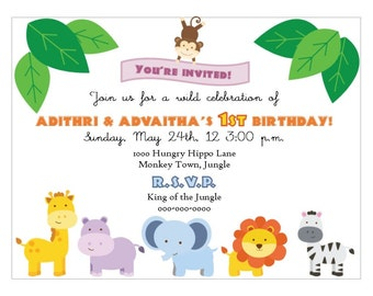 Jungle/Safari/Zoo Party Invitation - Print Your Own - Digital File