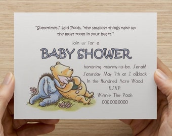 Classic Winnie The Pooh Baby Shower Invitation - Print Your Own - Digital File