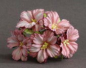45mm Pink Wild Roses  (5pcs) - mulberry paper flowers with wire stems [P106]