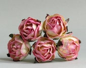 30mm Pink Paper Peonies (5 pieces) - Small mulberry paper flowers with wire stems [526]