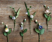 Paper Wildflowers - 6 Stems of Random Design - Made of mulberry paper - Great for wedding place cards, gift wrapping and creative packaging