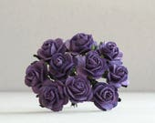 20mm Purple Paper Roses - 10 mulberry paper flowers with wire stems [182]