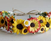 Sunflower Crown - Yellow and red paper flower headband - Perfect for rustic Autumn wedding