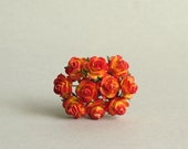10mm Tiny Red and Orange Paper Roses with Wire Stems - 10 mulberry paper flowers [501]