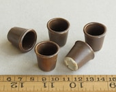 5 Miniature Plant Pots - Matt Brown ceramic containers - 22mm (7 8 inch) tall